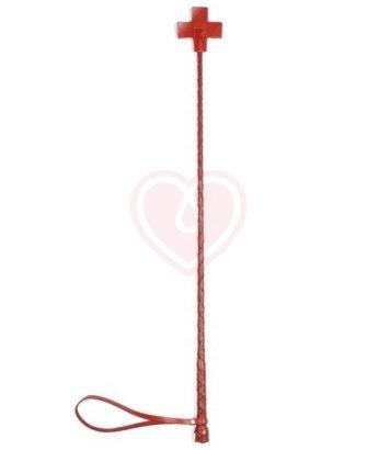 Стек с оплёткой из кожи и шлепком крестом красный