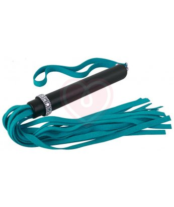 Флоггер с украшением из страз на ручке бирюзово-чёрный