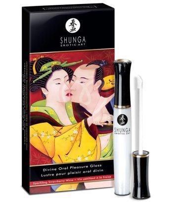 Блеск для губ для орального секса Shunga Клубника и шампанское 10мл