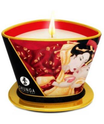 Массажное аромамасло в виде свечи Shunga Sparkling Strawberry Wine Клубника и шампанское 170мл