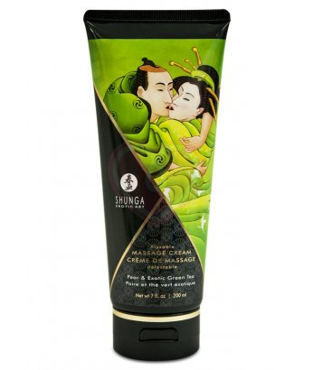 Съедобный массажный крем Shunga Необыкновенные поцелуи Груша и Зелёный чай 200мл