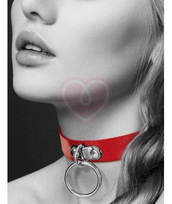 Чокер с кольцом Bijoux Indiscrets Collier Fetish Rouge красный