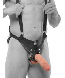 Фаллопротез с ремнями Hollow Strap-On Suspender System 25 см телесный