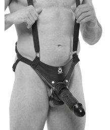 Фаллопротез с ремнями Hollow Strap-On Suspender System 25 см черный