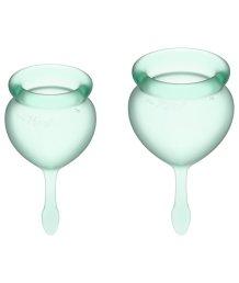 Набор из 2 менструальных чаш с кончиком-капелькой Satisfyer светло-зелёный