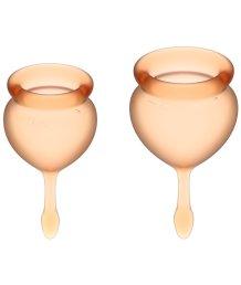 Набор из 2 менструальных чаш с кончиком-капелькой Satisfyer оранжевый