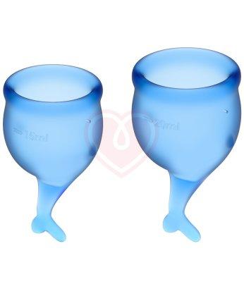 Набор из 2 менструальных чаш с хвостиком Satisfyer синий