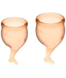 Набор из 2 менструальных чаш с хвостиком Satisfyer оранжевый