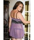 Розовато-лиловый комплект с блестящим кружевом Plus Size