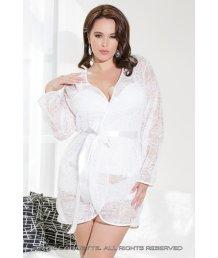 Белый легкий халатик из кружева Plus Size