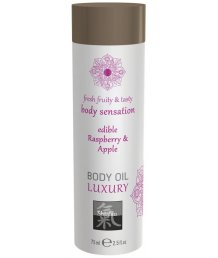 Съедобное масло для тела Shiatsu Body Oil Luxury Малина и яблоко 75 мл