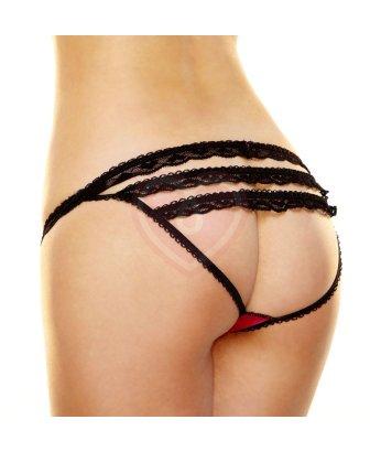 Открытые трусики с рюшами на попке Hustler Lingerie чёрно-розовые