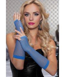Длинные ажурные перчатки синие