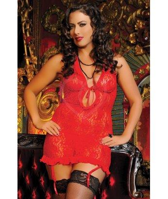 Гипюровое красное платье с завязками на груди Plus size