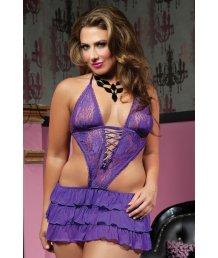 Лиловое платье-фартучек Plus size