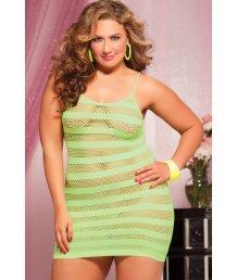 Лаймовое платье в полоску Plus size