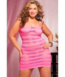 Розовое платье в полоску Plus size