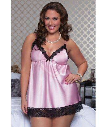 Атласное платье бэби-долл с трусиками розовые Plus size
