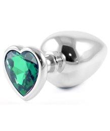 Металлическая большая пробочка с зелёным кристаллом сердечком