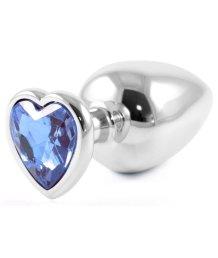 Металлическая большая пробочка с голубым кристаллом сердечком