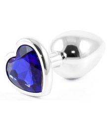 Металлическая маленькая пробочка с синим кристаллом сердечком
