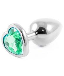 Металлическая маленькая пробочка с зелёным кристаллом сердечком
