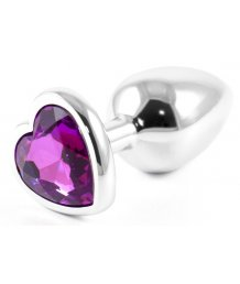Металлическая маленькая пробочка с фиолетовым кристаллом сердечком