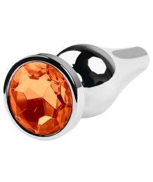 Большая анальная пробка с закруглённым кончиком и оранжевым кристаллом
