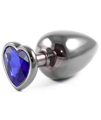 Серая металлическая большая пробочка с синим кристаллом сердечком