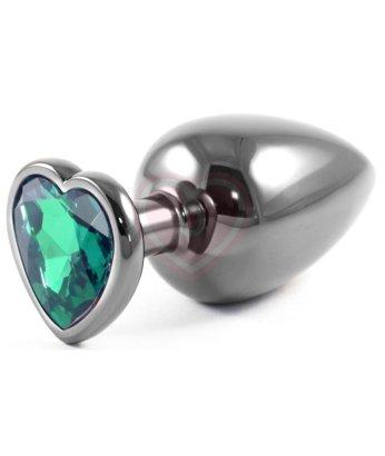 Серая металлическая большая пробочка с зеленым кристаллом сердечком