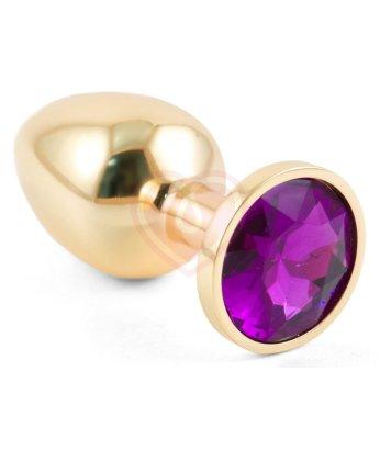 Маленькая золотистая анальная пробка Пикантные штучки с фиолетовым кристаллом