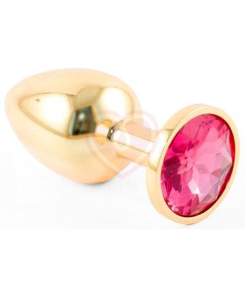 Маленькая золотистая анальная пробка Пикантные штучки с рубиновым кристаллом