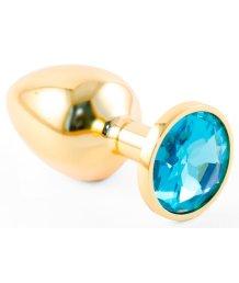 Маленькая золотистая анальная пробка Пикантные штучки с голубым кристаллом