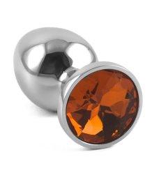 Маленькая металлическая пробка Пикантные штучки с оранжевым кристаллом