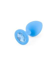 Маленькая силиконовая пробка голубая с голубым кристаллом