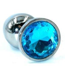 Металлическая анальная пробка Medium с голубым стразом