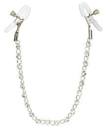 Зажимы на соски с металлической цепочкой и кристаллами Crystal Chain Nipple Clamps