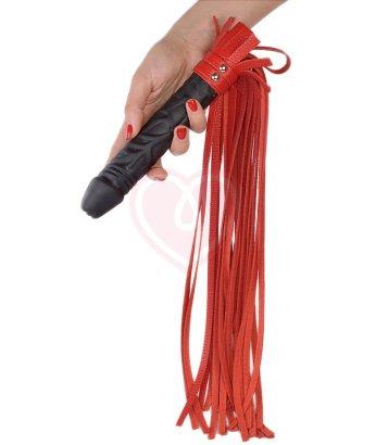 Плеть Ракета с кожаными хвостами и ручкой фаллосом красная