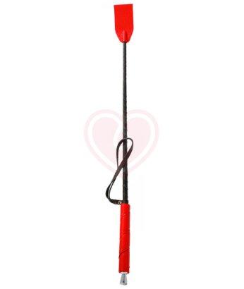 Стек с кожаной ручкой красный