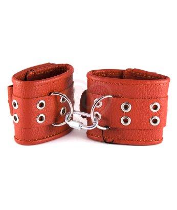 Наручники кожаные на 1 ремешке Sitabella красные