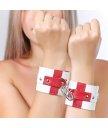 Наручники Sitabella кожаные белые с красным крестом