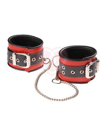 Оковы кожаные с длинной цепочкой Sitabella чёрно-красные