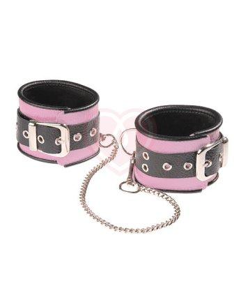 Оковы кожаные с длинной цепочкой Sitabella чёрно-розовые