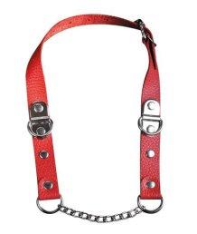 Кожаный кляп с металлической цепочкой  красный