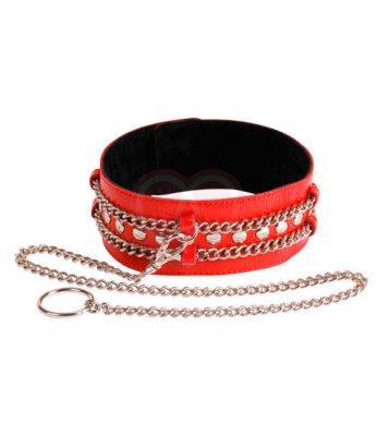 Кожаный ошейник с двумя цепочками Sitabella красный