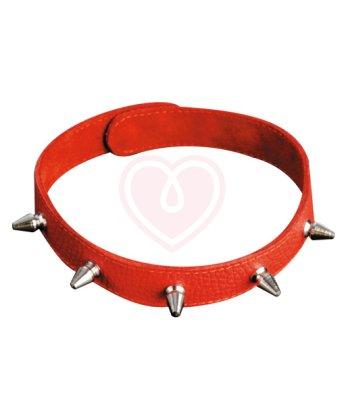 Узкий кожаный чокер с шипами красный