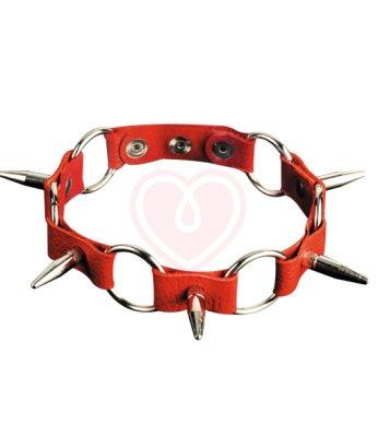 Чокер с металлическими кольцами и длинными шипами Sitabella красный