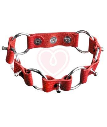 Кожаный чокер с кольцами и маленькими шипами Sitabella красный