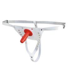 Трусики кожаные для насадки Vac-U-Lock Стандарт белые