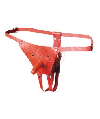 Трусики кожаные для насадки Vac-U-Lock Комфорт красные